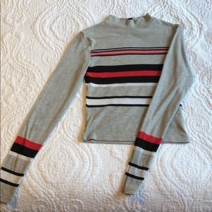 Divided Striped Turtle Neck